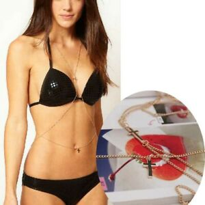 Gold-Silver-Womens-Sexy-Bikini-Waist-Chain-Body-Belly-Beach-Harness-Necklace