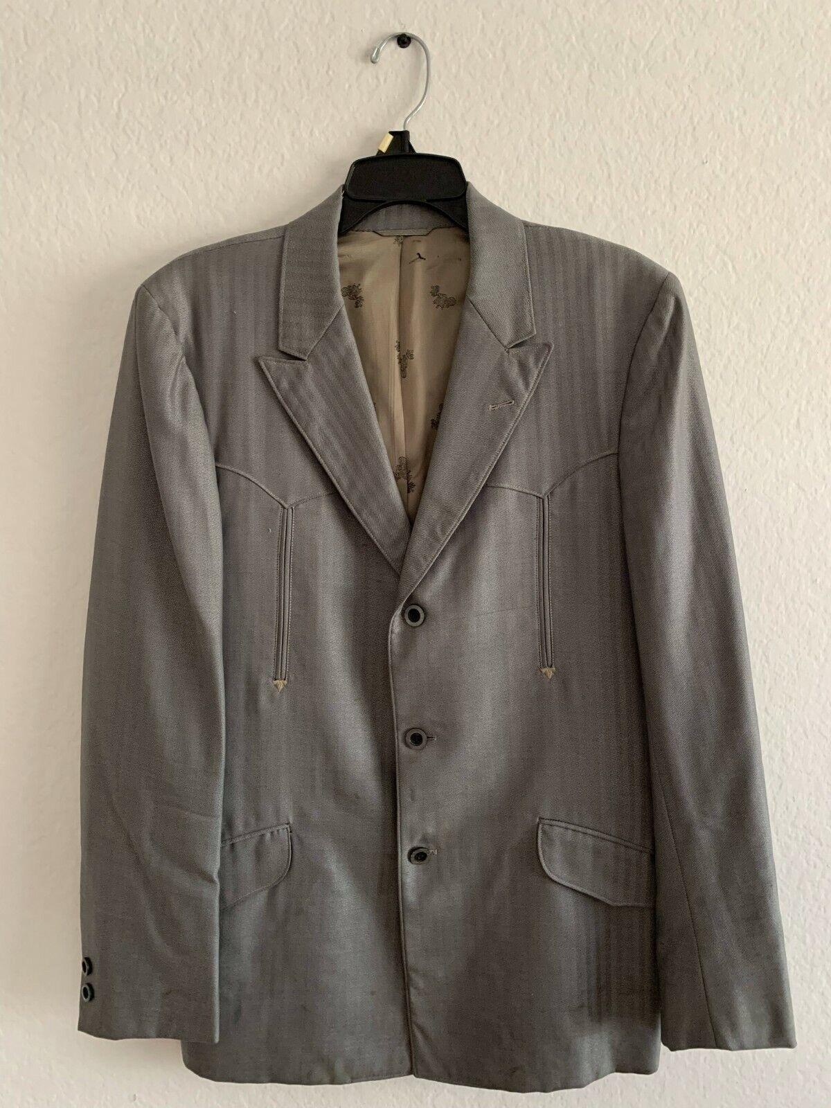 1970s Men's Vintage Western Suit Jacket -Silver- - image 1