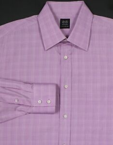 BATTISTONI-Light-Purple-Plaid-Cotton-Handmade-Dress-Shirt-Large