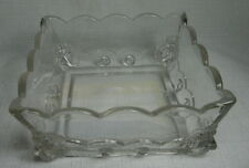 Vintage Depression Glass Candy Dish with Unique Lion Head Corners