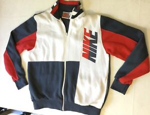 années Jacket Tag Silver 80 Red Nike Big Logo Full taille des Coat des XL années 90 Vintage Zip FCzw5qHan