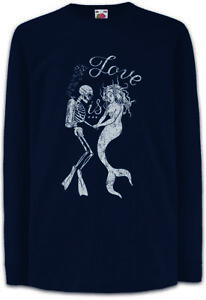 Mermaid-Diver-Love-Kinder-Langarm-T-Shirt-Toter-Taucher-Tauchen-Meerjungfrau