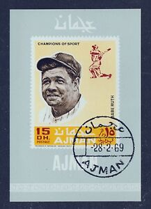Babe Ruth souvenir sheet CTO 1969 Ajman