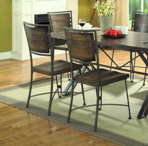 Details about Dining Side Chair SET OF 2 Gunmetal Dining Room Chairs Seat  Rustic Industrial