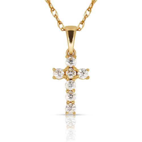 Small Crucifix Created Diamond Tiny Cross Yellow//White 14K Gold 0.25CT