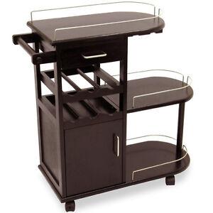 Image Is Loading Wooden Bar Cart Open Wood Shelves Serving Wine