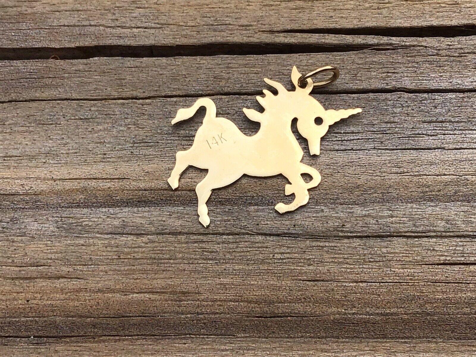 Vintage Unicorn 14k Gold Necklace Pendant/ Charm - image 4