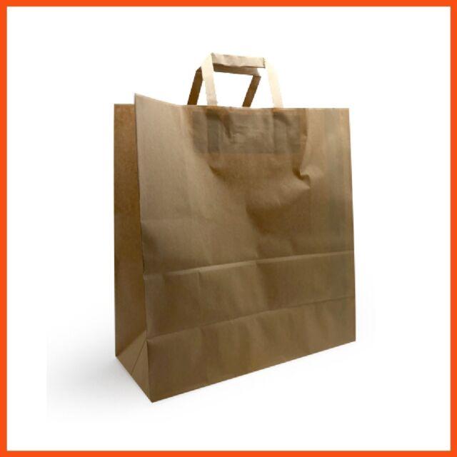 250 x CRAFT PAPER BAGS 32x15x34cm | Bulk Kraft Bag Gift Carry Bag with Handle