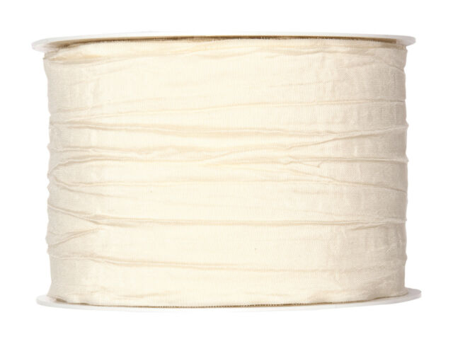 "Ivory Cream pleated taffeta fabric ribbon 60mm (2.4"") 10m roll Made in Germany"