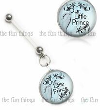 It's A Prince Boy Maternity Belly Ring Pregnancy Navel Retainer Glass Top 14ga