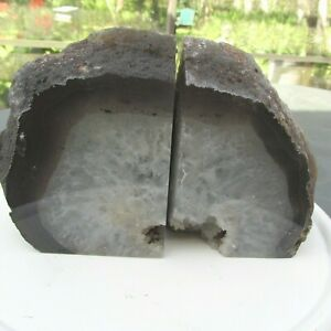 New Natural Not Enhanced Agate Geode Polished Quartz Crystal Bookends 7.7 Pounds