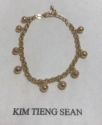 "18k Yellow Gold Baby Charm Bracelet ,7"" Long,(6g)"