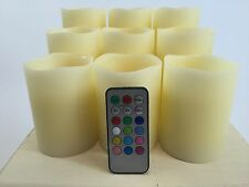"""Set of 9 Flameless Mulit-colored  """"Flame"""" Ivory Pillar Plastic Candles w/Remote"""