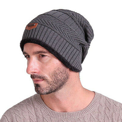 Fashion Baggy Beanie Winter Warm Knitted Slouchy Hat Men Soft Outdoor Skull Cap