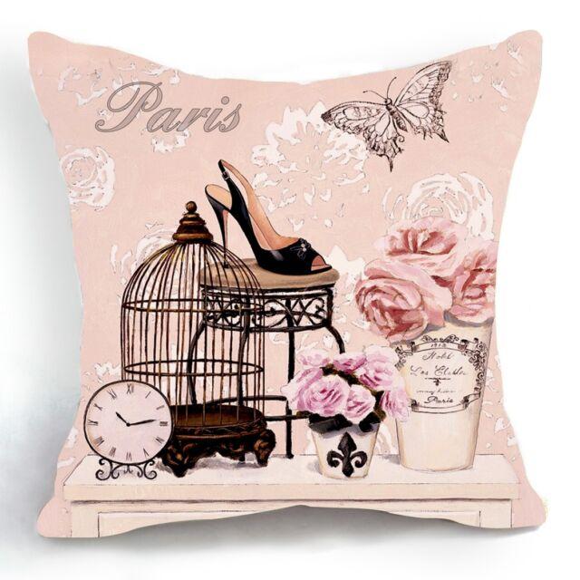 Retro Vintage Pink Bird Cage Flower Decorative Pillow Case Cushion Cover 18''