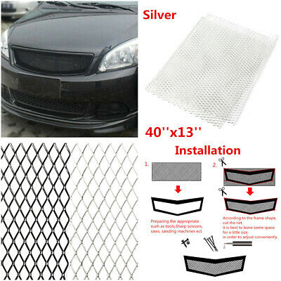 AggAuto Universal 40x13 Car Grill Mesh Aluminum Alloy Automotive Grille Insert Bumper Rhombic Hole 3x6mm One of the Most Multifunctional Shape Grids Black