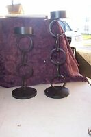 Gold Canyon Candles - Set Of 2 Mini Iron Circle Ring Stands - Black -