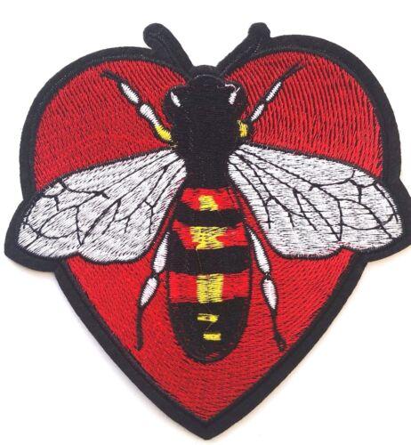 """5/"""" Parche Parche Grande Corazón De Abeja insignia de hierro en apliques bordados ref 18"""