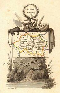 Glorious Allier Département Scarce Antique Map/carte By A.m Perrot 1823 Old Online Shop
