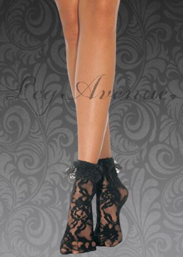Lace ruffle ankle socks White,Black,red pop socks fancy dress Leg Avenue anklet