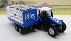 PERSONALISED-NAME-Gift-Blue-Farm-Tractor-Trailer-Boys-Toy-Christmas-Present-Box