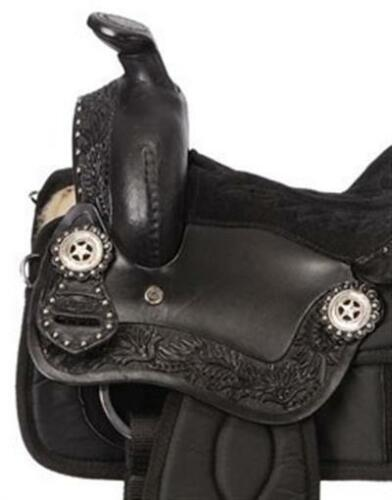 Black Synthetic Krypton and Leather 14 Inch Youth Western Saddle