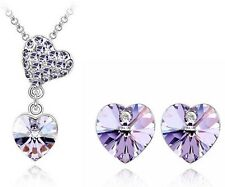 White Gold Plated Austrian Crystal Pendant Necklace Earring Set   Purple Color
