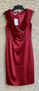 Kay-Unger-Red-Silk-Shiny-Knee-Length-Cocktail-Dress-Size-6-NWT-Retail-320