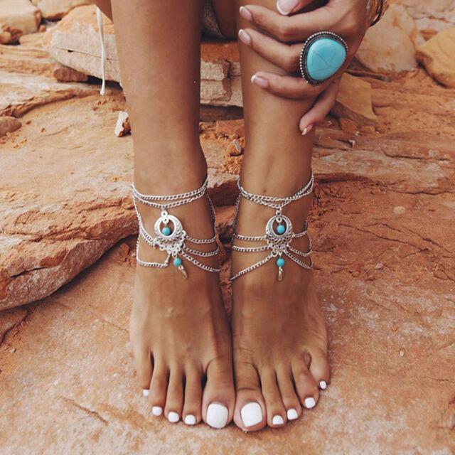 Sandalias de turquesa descalzo playa tobilleras pulsera de cadena de FW