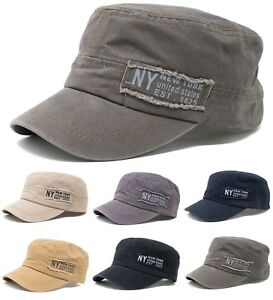 2a8d7bc6 Men's Cotton Army Hat Military Cadet Patrol Baseball Cap New York NY ...