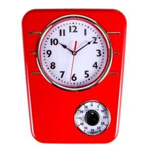 Vintage Wall Clock Retro Kitchen Decor With 60 Min Timer Red Yellow Blue Clocks Ebay