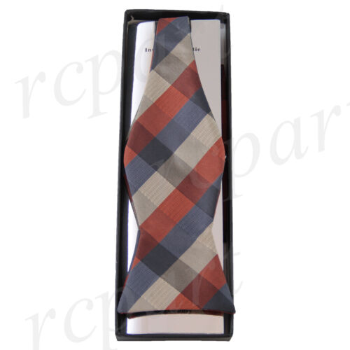 New in box Brand Q Men/'s Self-tied Bow Tie /& Hankie Squares Checkers Orange Blue