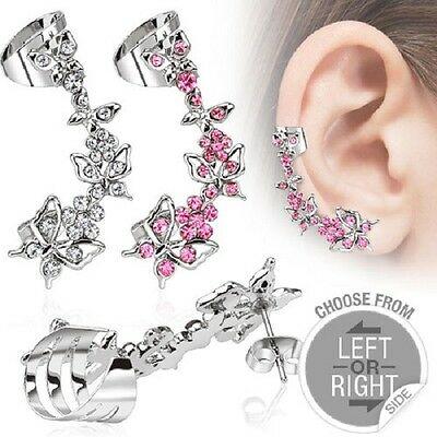316L Surgical Steel Butterfly CZ Stud Earring with Butterfly & Flowers Ear Cuff