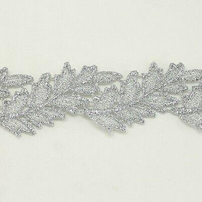Leaf Metallic Embroidered Venise Lace Trim #294 - Bridal Wedding Dress Belts