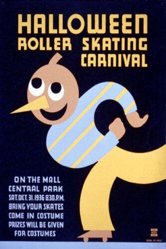 CENTRAL PARK HALLOWEEN ROLLER SKATING CARNIVAL NEW YORK VINTAGE POSTER REPRO