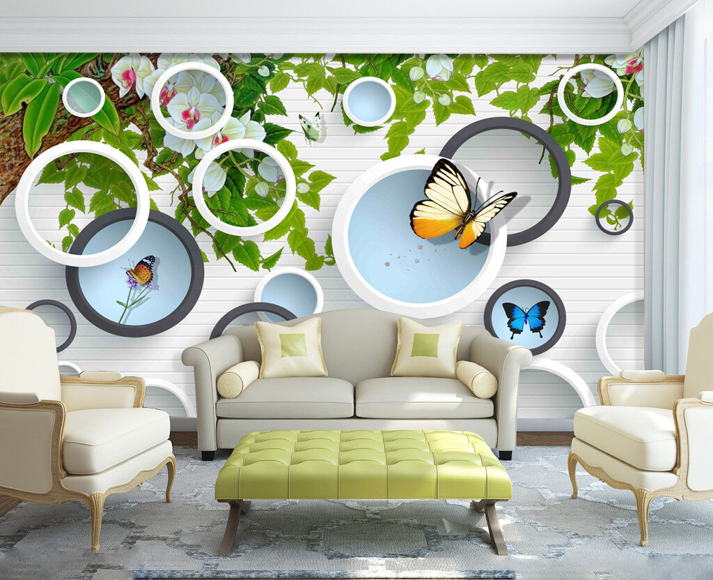 3D Rings Print Flowers 227 Wall Paper Wall Print Rings Decal Wall Deco Indoor AJ Wall Paper fb57ce