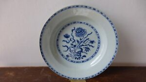 Antique-chinese-export-porcelain-soup-plate-XVIIIth-Ancienne-Assiette-Chine-1