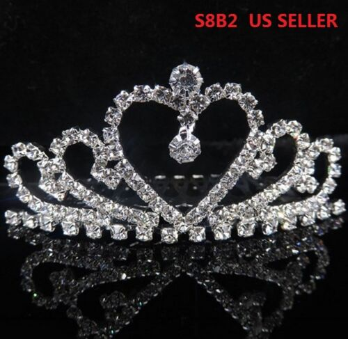 Rhinestone Crystal Heart Hair Band Kid Girl Bridal Princess Crown Headband S8B2