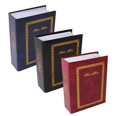 """SLIP IN HARDBACK PHOTO ALBUM STORAGE BOOK FILE GOLD TRIM 4"""" X 6"""" 200 CAPACITY"""