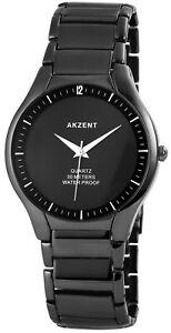 Akzent-Herrenuhr-Schwarz-Analog-Klassisch-Titan-Look-Metall-Quarz-X2800050001