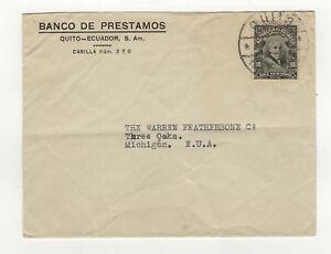 Banco-de-Prestamos-Quito-Ecuador-Equateur-timbre-sur-lettre-ancienne-B5A2
