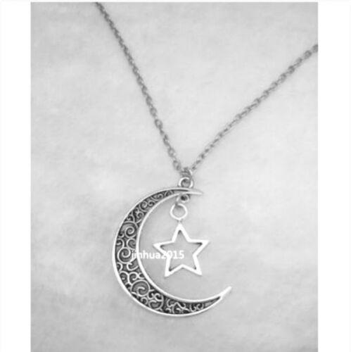 Crescent Moon et Star pendentif Plaquage Argent Bijoux Collier 2pcs