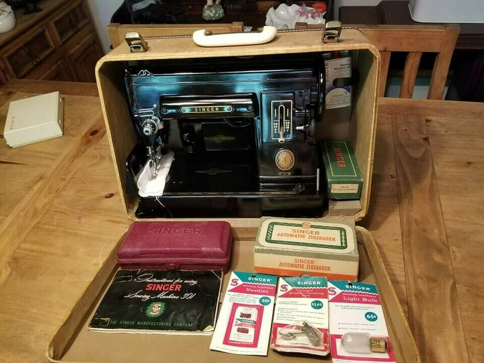 Singer 301 Black Sewing Machine BUNDLE [SERVICED AND CLEANED]