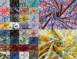 By-Yard-Women-Dressmaking-Cotton-Voile-Fabric-Indian-Hand-Block-Print-Sewing-44-034