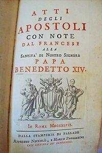 Antico-libro-ATTI-degli-APOSTOLI-Roma-1767-a-PAPA-BENEDETTO-XIV-OLD-BOOK