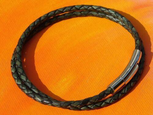 ladies 3mm Dark Green leather /& stainless steel bracelet by Lyme Bay Art Mens