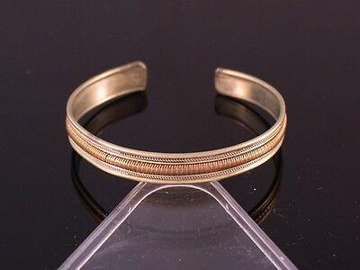 Small Tibetan 3-Color Copper Strands Delicately Braided Weaving Cuff Bracelet