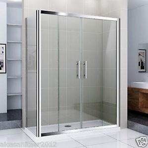 Duschabtrennung schiebetür  Duschkabine Duschabtrennung Echtglas Walk in Dusche Doppel ...