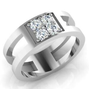 0-49-Ct-Round-Cut-Natural-Diamond-Wedding-Mens-Ring-14K-White-Gold-Band-Size-S