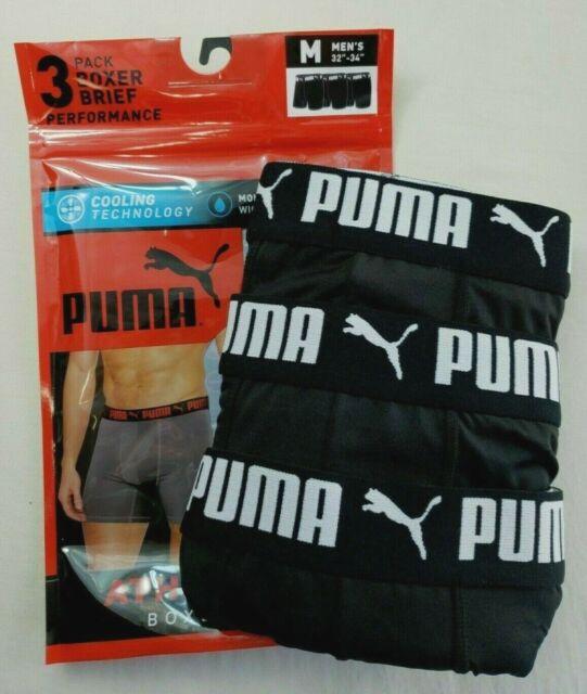 PUMA Men's Boxer Briefs 3 Pack M 32-34 Black Athletic Fit Active ...